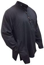 Mens Plain Collarless Grandad Cotton Shirt,Loose Fit Full Sleeved,Festival Top