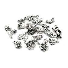 19pcs Tibetan Christmas Tree Snowflake Charm Pendant Diy Necklace Bracelet-Craft