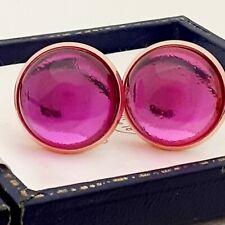 Vintage 1970s Hot Fuschia Pink Glass - Large Round Rose Goldtone Cufflinks