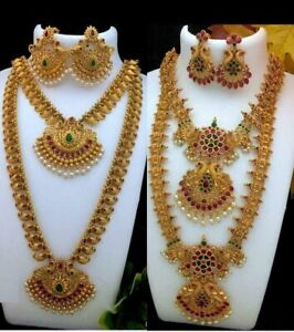 South Indian Bollywood Necklace Gold Plated Matte Temple Jewelry Combo of 2 Set