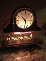 Vintage Budweiser Clydesdale Team Bar Light With Clock 1982