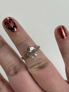 10k Gold Pink Morganite Ring with Diamond Accents sz 6
