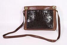 1B DEY Damen Crossbody Bag Tasche Leder braun Krokolook Vintage Boho