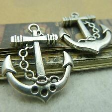 Pack Of  10 Pcs Anchor Charms Antique Tibetan Silver Tone 2 Sided TE2025