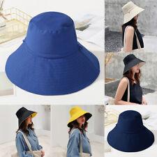 Anti-UV Fisherman Cap Women Cozy Wide Brim Summer Beach Cotton Sun Bucket Hat