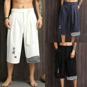 Mens 3/4 Long Shorts Cotton Linen Below Knee Pants Soft Lace-Up Tai Chi Loose