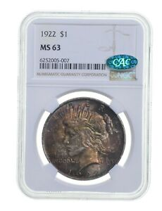 MS63 1922 Peace Silver Dollar - CAC - Graded NGC - Toned *3674