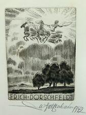 Walter HELFENBEIN 1942 Exlibris Dorschfeldt Sun Chariot Nude Etching Radierung