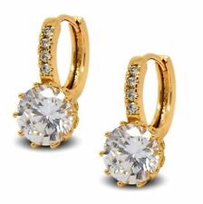 18ct Gold Filled Womens Hoop Earrings with White CZ Crystals