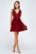 LADIES SLEEVELESS Chiffon Formal Bridesmaid Prom SHORT DRESS Size S M L 27788