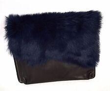 Topshop Clutch Purse Bag Shearling Wrap Blue Black Sheepskin