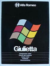 Prospekt Alfa Romeo Giulietta Farbkarte, ca.1980, 6 Seiten, folder
