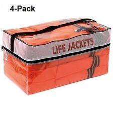 Life Jackets Vest Preserver 4 Pack Type ll Adult Orange Jacket Boating Fishing