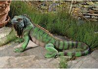 Garden Statue Green Iguana Exotic Large Lizard Sculpture Tropical Patio Decor