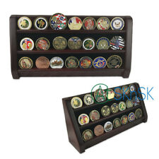 Wooden Display Cherry Finish Challenge Coin Rack Shelf 28 Coins Holder 16 Inch