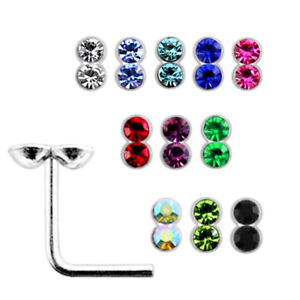 10 Pcs 22G 6mm 925 Sterling Silver 2mm Circle Joint Jeweled L- Shaped Nose Stud