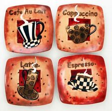 Coffee Themed Collectible Decorative Display / Dessert 8� Square Plates Set of 4