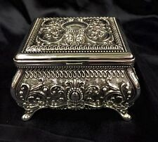 Square Shaped Silver Plated Jewellery Box With Red Velvet Lining 14.5cm Wide