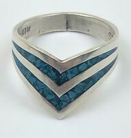 Vintage Southwestern Mexico Taxco 925 Sterling Silver Ring Turquoise inlay Sz 6
