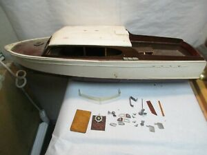 """vintage 29"""" Cabin Cruiser Wood Boat Model Kit with Hardware Sold As Is - Parts"""