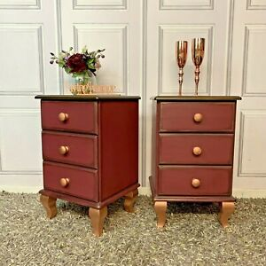 Pair Bedside Tables Solid Pine Painted Burgundy / Plum Colour