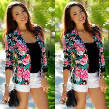 New Fashion Womens Long Sleeve Floral Slim Suit Casual Jacket Coat Outwear Tops
