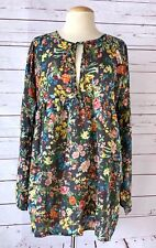 JOHNNY WAS Womens Size S Floral 100% Silk Long Sleeve Tunic Top