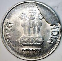 2015 LARGE CUD ERROR +Die Crack India 1 Cent Piece ~ One Rupee US .25 SZ Coin NR