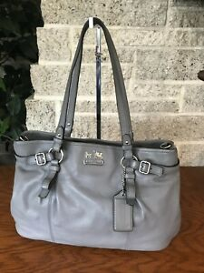 COACH MADISON GRAY LEATHER CARRYALL 16359 BAG HANDBAG PURSE SHOULDER SATCHEL