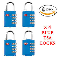 4 X BLUE SECURITY 4 COMBINATION TRAVEL SUITCASE LUGGAGE BAG CODE LOCK PADLOCK