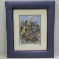 Spring Flowers Bird Nest Blue Eggs Signed Framed Art Print Sue Swendsen Purple