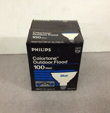 New Old Stock Philips Colortone Outdoor Flood 100W Blue Light Lamp Bulb