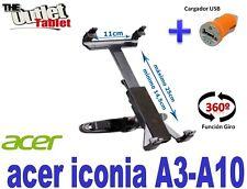SOPORTE REPOSACABEZAS PARA TABLET ACER ICONA A3-A10 + CARGADOR USB