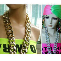 Shiny Celebrity Style Chunky Gold Statement Curb Chain Choker Necklace unisex