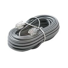 Eagle 50' FT Phone Cord Cable 4 Wire Silver Satin Modular RJ11 Plug Ends 6P4C