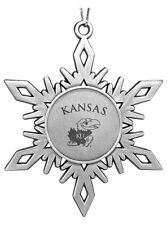 University of Kansas Jayhawks KU ENGRAVED PEWTER SNOWFLAKE CHRISTMAS ORNAMENT