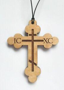 Laser Engraved Beautiful Russian Orthodox Cross Crucifix Car Amulet