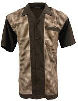 Rockabilly Fashions Men's Shirt Retro Vintage Bowling 1950 1960  Brown White