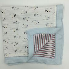 Nordstrom Rocket Ship Space Baby Blanket Organic Striped Blue Red White 2010
