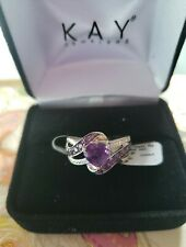 Kay Jewelers Genuine Amethyst Swirl Ring * Diamond Accent 925 Silver Size 7~NEW