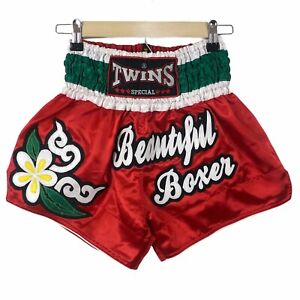 Twins Women's Muay Thai Shorts Size S Embroidered Floral Beautiful Boxer Red NWT