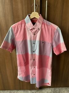 Ted Baker Mens Short Sleeve Shirt Size 3 Bright Chequed Pattern