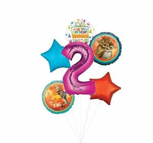 Lion King Party Supplies 2nd Birthday Balloon Bouquet Decorations - Pink Numb...