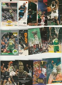SHAWN KEMP N LOT (29) DIFFERENT CARDS  W/ 6 INSERTS 2 1990-91 ROOKIES RC