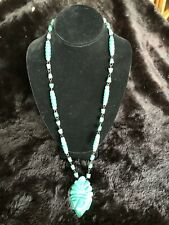 Beaded Tribal Mask Pendant Necklace Hand Carved Mexican Blue Green Agate