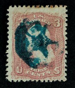 Scott US 65 1861 3¢ Wash., Fancy Used / Blue Star