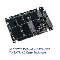 2 in 1 M.2 NGFF B-Key & mSATA SSD To SATA 3.0 Adapter Converter Case Enclosure