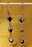 925 Sterling Silver Glass Gemstone Ladies Dangling Earrings Fine Jewelry