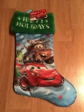 "Disney Cars Christmas Holiday 20"" Stocking Lightening McQueen Mater Blue Green"