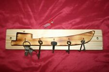 Boat shaped wooden key rack tidy. 5 hooks, canal narrowboat tug. Utensils hanger